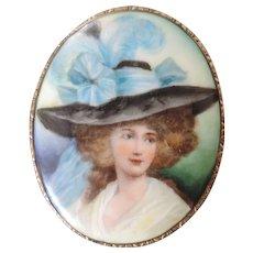 """Large Hand Painted Porcelain Portrait Brooch/Pendant, 2 7/8"""" X 3 1/2"""""""