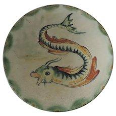 Ironstone Faience Sea Serpent/Mythological Fish Decorative Bowl