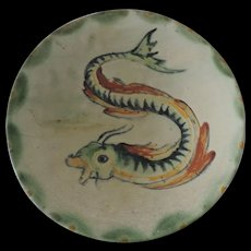 Ironstone Faience Sea Serpent/Mythological Fish Decorative Bowl