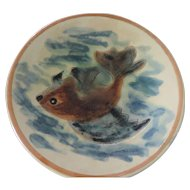 Ironstone Faience Flying Fish Plate