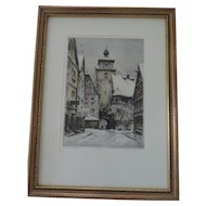 """Rodegasse In Rothenburg, Paul Geissler Etching, 7 1/2"""" X 10 1/2"""", Professionaly Framed"""