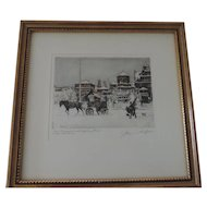 "Christmas Market, Pual Geissler Etching, 6 3/4"""" X 8 1/4"" Image, Professionally Framed"