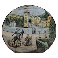 """Don Quixote Ceramic Charger, Hand Painted, Tin Glazed, 16 1/4"""""""