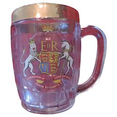 Queen Elizabeth II, Coronation Glass Mug, Gold Trimmed