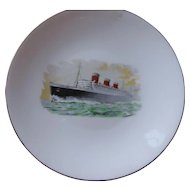 Staffordshire Queen Mary Ocean Liner Commemorative Plate, Crown China