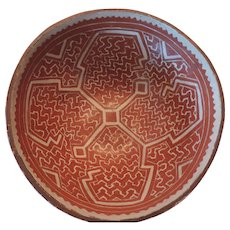 Vintage Peruvian Indian Bowl, Shipibo Conibo, Maize Pattern, 8 1/4""