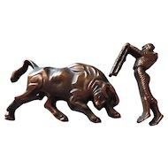 Bronze Bull and Matador by Roberto Vitzelio