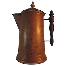"Vintage Brass Coffee Pot, 11"", Turned Wood Finial and Handle"