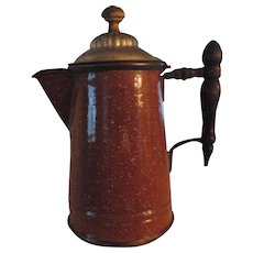 Manning-Bowman Brown Graniteware Coffee Pot