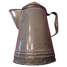"Grey Graniteware Coffee Pot, 10"", Hollow Handle, tin Lid"