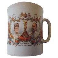 King Edward VII, Queen Alexandra Coronation Mug, Crowned June 26th, 1902