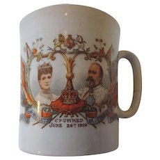 King Edward VII, Queen Alexandra Coronation Mug, Crowned June 26th, 1902