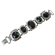 Faceted Black Glass ,Faux  Seed Pearl, 5 Link Bracelet, 7 1/4""