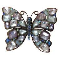 "Large, 2 1/4"" X 3"" Rhinestone Butterfly Pin"