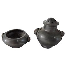 Chinese Pewter Salt Cellar and Pepper Shaker with Hard Stone Accents
