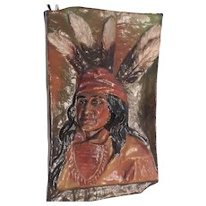 """Vintage, Hand Painted, Papier Mache Wall Hanging of Indian Brave, 12 1/2"""" X 20"""""""