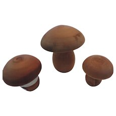 Handcrafted Aspen Wood Mushroom Shaped Sewing Notions, Set of 3