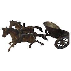 Brass Model Greco/Roman Horse Drawn Chariot