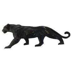 "Black Puma Figurine, 9 3/4"", Solid White Metal"