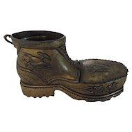 German Hiking Boot Match Holder/Ashtray, Brass