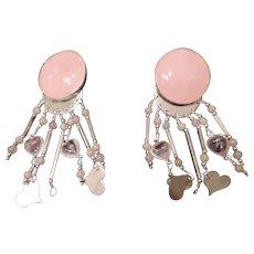 Herman Siebersbol Sterling, Clip, Rose Quartz Chandelier Earrings