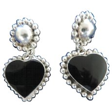 Vintage Taxco Sterling Silver and Black Onyx Drop, Heart, Clip Earrings