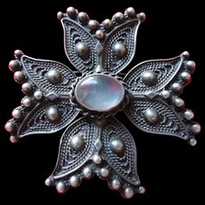 Anodized Sterling Silver and Moonstone Maltese Cross Brooch