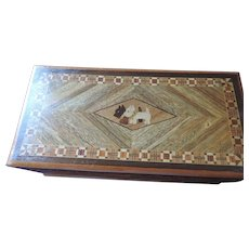 Vintage Marquetry Box with Black and White Scottie Inlay