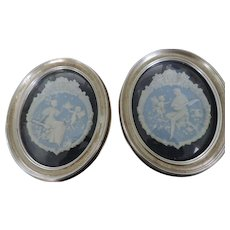 """Pair Blue and White Jasper Ware Plaques, in Silver Painted Oval Frames, 10"""" X 12"""""""
