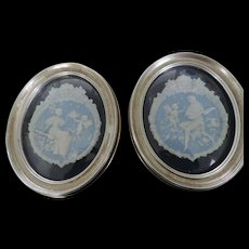 "Pair Blue and White Jasper Ware Plaques, in Silver Painted Oval Frames, 10"" X 12"""