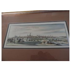 Utrecht Hand Colored Engraving, Utrecht, Holland