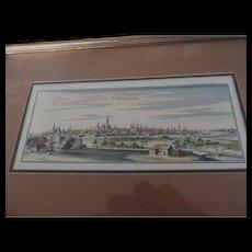 Utrecht Hand Colored Engraving, Utrecht, Holland
