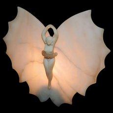Italian, Art Deco , Alabaster, Boudoir Lamp, Winged Ballerina, 1920's
