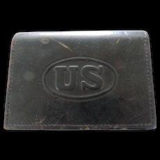 US Military Black Leather Belt Box, JQMD, 1938