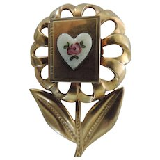 Gold Plated Flower Brooch with Enamel Book Photo Locket