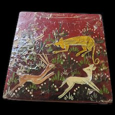"""Primitive Hand Painted Lacquered, Wooden Box, Big Cat Hunting Deer, 4 1/4"""" X 4 1/4"""" X 1 3/4"""""""