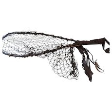 Vintage Native American Landing Net, Bent Branch and Wrapped Twig