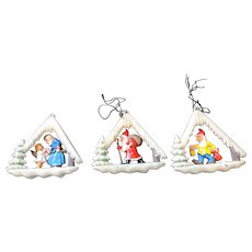 3 Vignette Christmas Tree Ornaments, West Germany