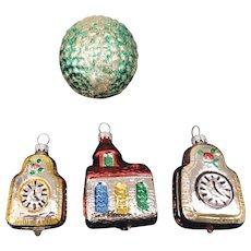 Group of 4 Mercury Glass Christmas Tree Ornaments, 2 Clocks, a Church, a Green Basketweave Ball, West Germany