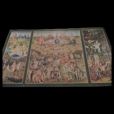 """Hieronymus Bosch Triptych, """"Garden Of Earthly Delights"""", Canvas, 23"""" X 38"""", Lambert Studios, Double Sided"""