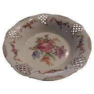 Large Schumann, Dresden, Flowered, Pierced,  Porcelain Compote