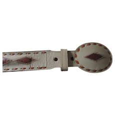 """Men's White Leather/Brown Snakeskin Wright Belt and Matching Buckle, 1 3/4"""" X 36"""""""
