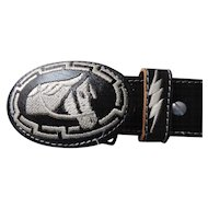 "Black and White Western Themed Mexican Concho Style Belt and Buckle, 1 5/8"" X 38"""