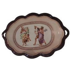 "Brown Porcelain two Handled Tray, Pompeii Pattern, Germany, 8 1/2"" X 12 1/2"""