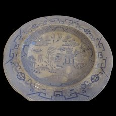 Warranted Staffordshire, Powder Blue and White Willow Ware Soup Bowl