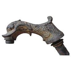Cast Zinc Zoomorphic Faucet Spigot, Stylized Dolphin