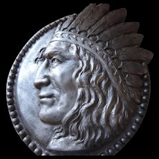 "Large, 19"" X 21"", Cast Aluminum American Indian Brave Profile Plaque"