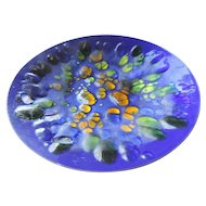 """Mid Century Win Ng Copper Enamel Bowl, 11 1/2"""", Blues, Greens, Golds"""