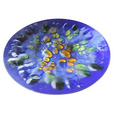 "Mid Century Win Ng Copper Enamel Bowl, 11 1/2"", Blues, Greens, Golds"