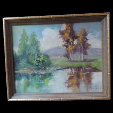 """Louise Cunningham Oil Painting, Landscape, Professionally Framed, 8"""" X 10"""", 9 1/4"""" X 11 1/4"""""""